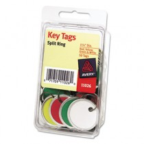 "Metal Rim Key Tags, Card Stock/Metal, 1 1/4"" Diameter, Assorted Colors"