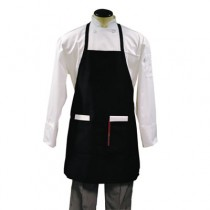 Bib Apron, Two Center Pockets, Black, Poly/Cotton, One Size Fits Most