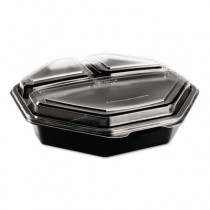 OctaView CF Container, 3-C, Black/Clear, 36oz, 9.57w x 9.18d x 2.36h