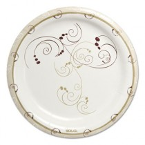"Symphony Heavyweight Paper Dinnerware, Plate, 9"", Round, White/Beige/Red"