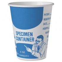 Paper Specimen Cups, 8 oz, Blue/White