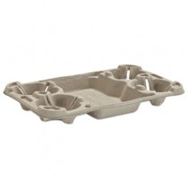 StrongHolder Molded Fiber Cup Tray, 8-44oz, Four Cups