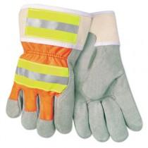 Luminator Reflective Gloves, Economy Grade Leather, Gray-Orange-Yellow, Large