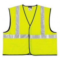 Class 2 Safety Vest, Lime Green w/Silver Stripe, Polyester, 3XL