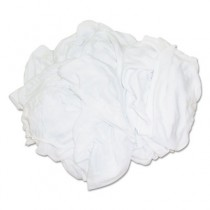 Bleached White T-Shirt Rags, Multi-Fabric, 25 lb Polybag