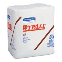 WYPALL L20 Wipers, Quarterfold, Four-Ply, 12 1/5 x 13, White, 68/Pack