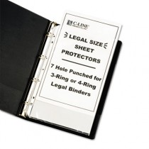 Hvywt Poly Sht Prtctor, Clear, Punched for 3 or 4-Ring Binder, 14 x 8 1/2