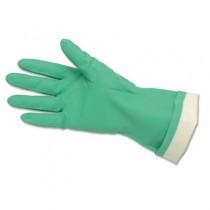 Flock-Lined Nitrile Gloves, Green