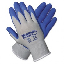 Memphis Flex Seamless Nylon Knit Gloves, Small, Blue/Gray, Pair