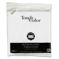 "Plastic Tablecovers, 82"" Round, White"