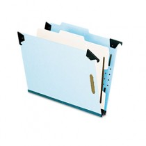 Pressboard Hanging Classification Folder w/Dividers, Four-Section, Letter, Blue