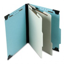 Pressboard Hanging Classification Folder w/Dividers, Six-Section, Letter, Blue