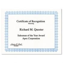 Parchment Paper Certificates, 8-1/2 x 11, Blue Conventional Border, 50/Pack