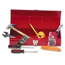 16-Piece Light-Duty Office Tool Kit in 16 Metal Box, Red