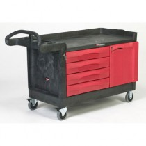TradeMaster Cart, 750-lb Cap., 1 Shelf, 26 3/8w x 58 5/8d x 33 1/4h, Black