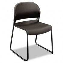 GuestStacker Chair, Charcoal with Black Finish Legs, 4/Carton