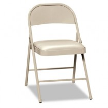 Steel Folding Chairs with Padded Seat, Light Beige