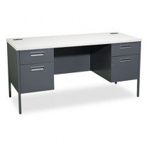 Metro Series Kneespace Credenza, 60w x 24d x 29-1/2h, Gray Patterned/Charcoal