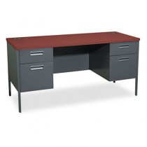 Metro Series Kneespace Credenza, 60w x 24d x 29-1/2h, Mahogany/Charcoal
