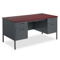 Metro Classic Double Pedestal Desk, 60w x 30d x 29-1/2h, Mahogany/Charcoal