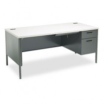 Metro Classic Right Pedestal Workstation Desk, 66w x 30d, Gray Pattern/Charcoal