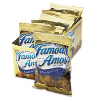 Famous Amos Cookies, Chocolate Chip, 2oz Snack Pack, 8 Packs/Box