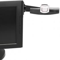 Swing Arm Copyholder, Adhesive Monitor Mount, Plastic, 30 Sheet Capacity, Black