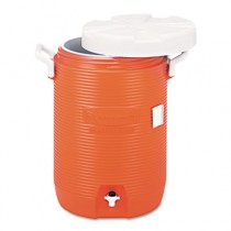 "Insulated Water Cooler, 5 Gal, Orange, 10""Dia x 19 1/2""H, Polyethylene"