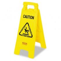 "Multilingual ""Caution"" Floor Sign, Plastic, 11 x 1-1/2 x 26, Bright Yellow"