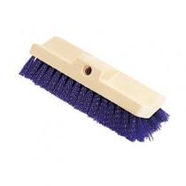 Bi-Level Deck Scrub Brush, Poly Fibers, 10 Plastic Block, Tapered Hole