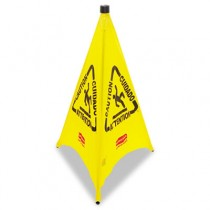 Three-Sided Wet Floor Safety Cone, 21w x 21d x 30h, Yellow
