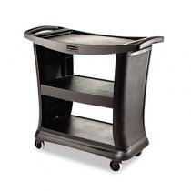 Executive Service Cart, 3-Shelf, 20-1/3w x 38-9/10d, Black