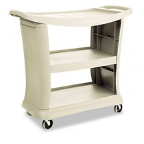 Executive Service Cart, 3-Shelf, 20-1/3w x 38-9/10d, Platinum