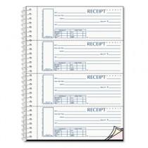 Spiralbound Unnumbered Money Receipt Book, 2 3/4 x 7, Three-Part, 120 Sets/Book