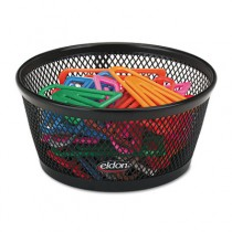 "Jumbo Nestable Paper Clip Dish, Wire Mesh, 4 3/8"" Diameter x 2"", Black"