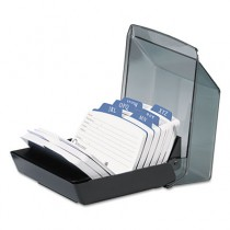 Petite Covered Tray Card File Holds 250 2 1/4 x 4 Cards, Black