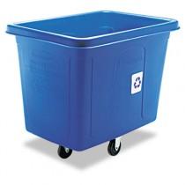 Recycling Cube Truck, Rectangular, Polyethylene-lb cap, Blue