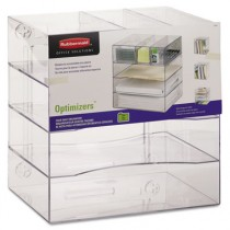 Optimizers Four-Way Organizer with Drawers, Plastic, 13 1/4 x 13 1/4 x 10, Clear