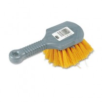 "Long Handle Scrub, 8"" Plastic Handle, Gray Handle w/Yellow Bristle"