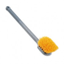 Pot Scrubber Brush, 20 Long Plastic Handle, Gray Handle w/Yellow Bristles