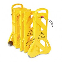 "Portable Mobile Safety Barrier, Plastic, 1"" x 13 ft x 40"", Yellow"