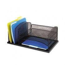 Desk Organizer, Six Sections, Steel Mesh, 19 3/8 x 11 3/8 x 8, Black