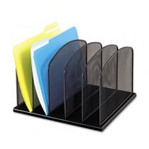 Mesh Desk Organizer, Five Sections, Steel, 12 1/2 x 11 1/4 x 8 1/4, Black
