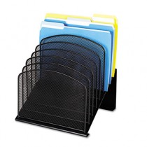 Mesh Desk Organizer, Eight Sections, Steel, 11 1/4 x 10 7/8 x 13 3/4, Black