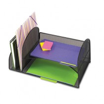 Desk Organizer, Two Vertical/Two Horizontal Sections, 17 x 10 3/4 x 7 3/4, Black