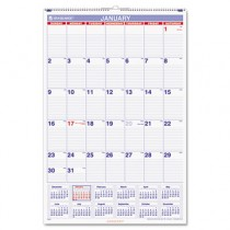 "Recycled Monthly Wall Calendar, Blue and Red, 20"" x 30"", 2013"