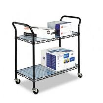 Wire Utility Cart, 2-Shelf, 43-3/4w x 19-1/4d x 40-1/2h, Black