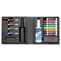 Low-Odor Dry Erase Marker, Eraser & Cleaner, Chisel/Fine, 12/Set