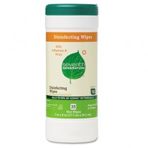 Disinfecting and Cleaning Wipes, 8 x 7, White, 35/Can