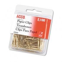"""Paper Clips, Wire, No. 2, 1-1/8"""", Gold Tone, 100/Box"""